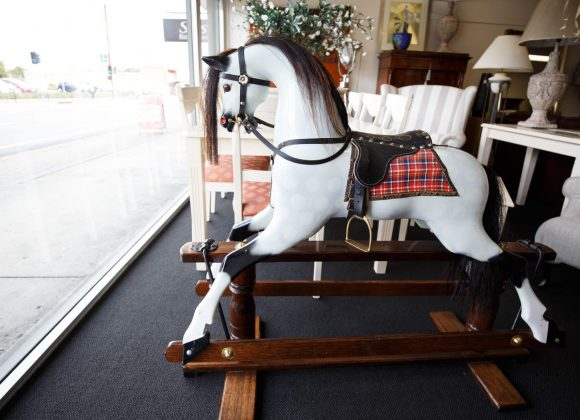 Fifty to sixty year old fully restored rocking horse beautiful example