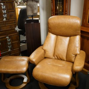 Nordic style swivel leather recliner with footstool