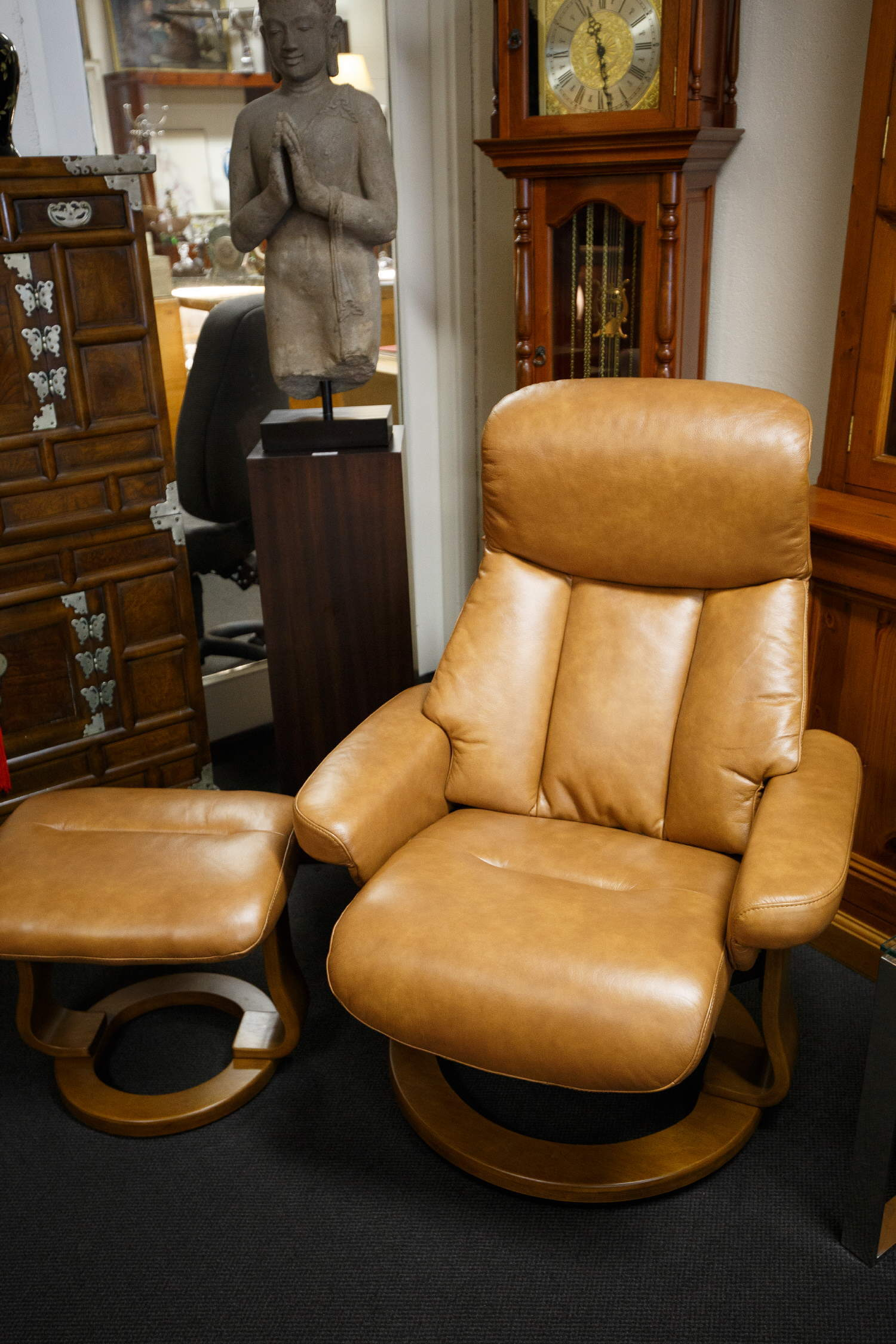 Nordic style swivel leather recliner with footstool ...