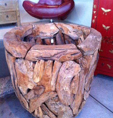 Hand made feature teak planter